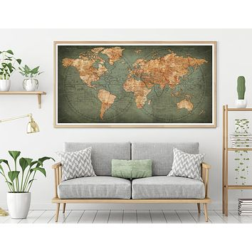 Detailed world map, unique world map poster, watercolor travel map Office decor, Map gifts -L32