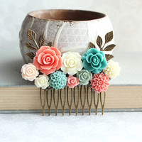 Bridal Hair Comb Coral Rose Teal Mint Wedding Vintage Style Ivory Cream Floral Collage Comb Hair Accessories Bridemaids Gift For Her