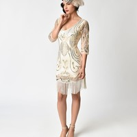 Unique Vintage Ivory & Gold Sequin Margaux Sleeved Fringe Flapper Dress