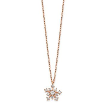 "14K Rose Gold CZ Snowflake 16"" Necklace"