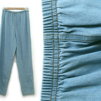 Vintage Denim Pants~Size Extra Small/Medium/Large, Waist 24-32~80s 90s Light Blue Jean Elastic Stretchy High Waist Sweatpants~By CMC