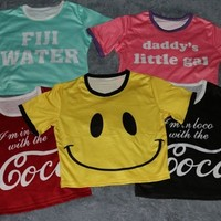 Emoji Tee up navel bust(76 98cm) Smile face fuji water Coco daddy little gal print O neck summer style Crop top women Tshirt-in Tank Tops from Women's Clothing & Accessories on Aliexpress.com | Alibaba Group