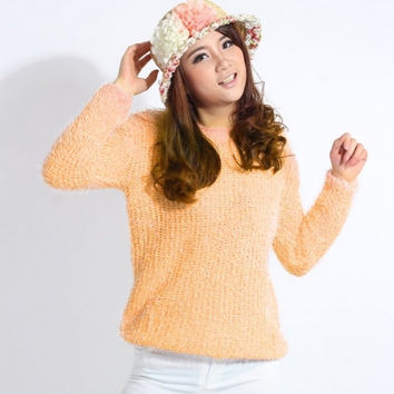 New Fashion Female Smooth Mohair Pure Candy Color Knitted Sweater Outwear