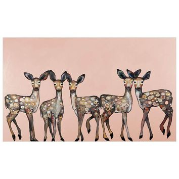 5 Dancing Fawns On Coral Wall Art
