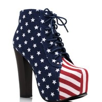 American Flag Lace Up Bootie