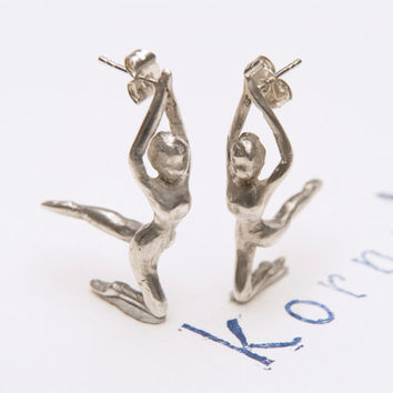 Acrobat Dancer Earrings, Ballerina Jewelry, Dance Ear Studs Silver, Dancing Earrings Jewelry, Circus Performance