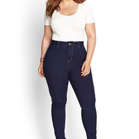 FOREVER 21 PLUS High-Waisted Skinny Jeans (Short)