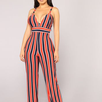 Baby You Got It Jumpsuit - Navy/Combo