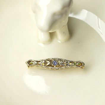 Antique KREMENTZ 14K Gold, Art Nouveau Bar Pin Brooch, Blue Topaz, Enamel Flowers and Leaves, Petite and Lovely!! #A899