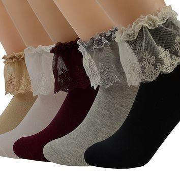 5 Pairs SYAYA Women Lace Ruffle Frilly Ankle Socks Five Colors WWZ10