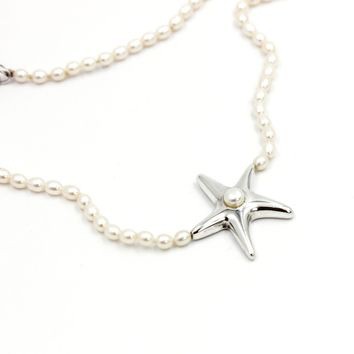 Tiffany & Co. Vintage Starfish Pearl Necklace in Sterling Silver 16""