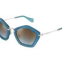 Miu Miu SMU 06O NAO-1F0 Turquoise Sunglasses Brown Gradient Lens Italy 53mm
