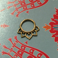 Lotus Pierced Septum Ring - Brass