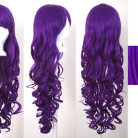 "29"" Long Curly Purple Wig with Bangs NEW"