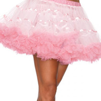 White and Pink Ruffled Tutu Skirt