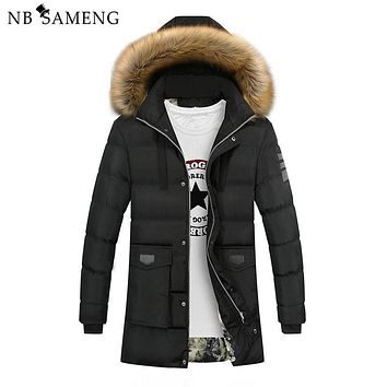 2017 New Down Coats Brand Jackets Men Parka High Quality Casual Warm Hooded Fur Collar Down Coats Winter Tend Jackets Plus Size