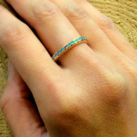 Eternity ring, 14k yellow gold band, thin band,  blue opal stones band, wedding band, gemstones ring, infinity ring, yellow gold ring RG0911