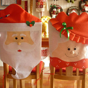 1Pair Lovely Mr & Mrs Santa Claus Christmas Dining Room Chair Cover Home Party Decor