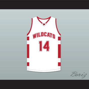 Troy Bolton 14 East High School Wildcats White Basketball Jersey