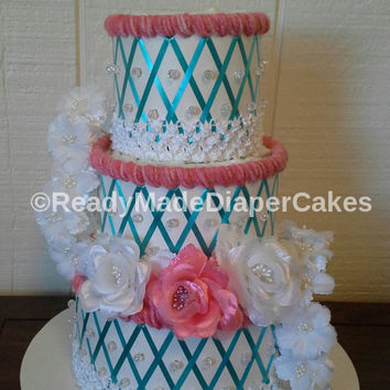 Coral Aqua and White 3 Tier Elegant Beaded Diaper Cake Themed Baby Shower Decor Table Centerpiece Baby Girl Gift