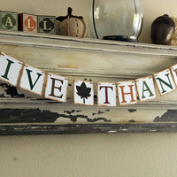 Fall Thanksgiving Banner Decoration - Give Thanks - Photo prop or decoration