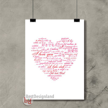 Text  I love you Heart A3 large art wall poster / Instant Download wall decor modern home print / Valentine's Day home gift ideas wall art