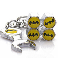 Wrench Keychain Chrome Tire Valve Stem Caps With Batman