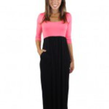 Pink And Black Maxi Dress With 3/4 Sleeves