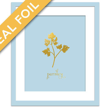 Parsley Art Print - Gold Foil Print - Food Poster - Gold Foil Kitchen Wall Art - Food Art - Kitchen Art Print - Gift for Chef - Herb Art