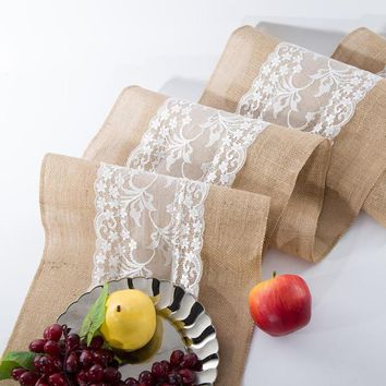 Burlap Linen Lace Table Runners Cloth Rustic Wedding Decoration
