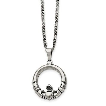 Stainless Steel Claddagh Circle Pendant Necklace - 22 Inch