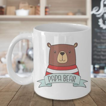 Papa Bear Coffee Mug Gift For Dad Daddy Father Grandpa Fathers Day Novelty Cup