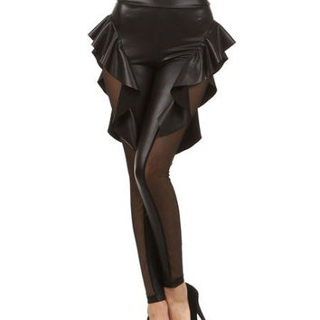Womens High Waist Tight Pants Faux Leather Mesh Inset Peplum Leggings