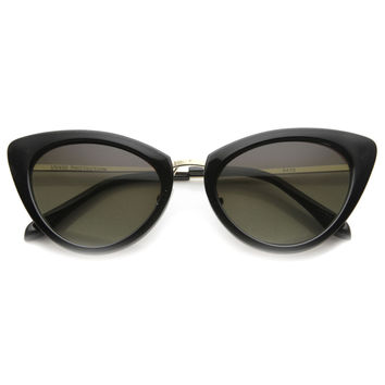 Women's Retro Fashion Cat Eye Metal Temple Sunglasses 9800