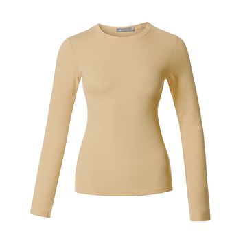Lightweight Fitted Long Sleeve Round Neck Cotton Shirt with Stretch