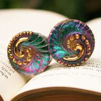 """7/8 Plugs color change gauges glass plugs for gauged ears size 7/8"""" 22mm"""