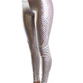 Baby Pink Metallic Dragon Scale High Waist Lycra Spandex  Leggings  -E7449