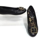 Jessica Simpson Womens Girls comfy Black Flat Shoes With Brass Buckle Size 4