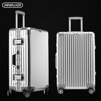 UNIWAlKER 100% Alumnium Rolling Luggage Lightweight Hardside Travel Trolley Suitcase with Aircraft Spinner Wheels Alumninum Rod