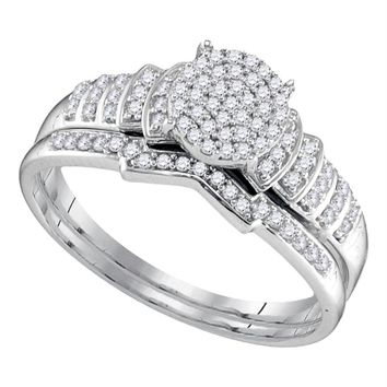 Sterling Silver Women's Round Diamond Cluster Bridal Wedding Engagement Ring Band Set 1-4 Cttw - FREE Shipping (US/CAN)