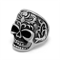 Unique design evil spirit pattern skeleton head ring for man SA442
