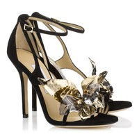 Black Suede Sandals with Jewelled Flower | Mantle | Spring Summer 2014 | JIMMY CHOO Sandals