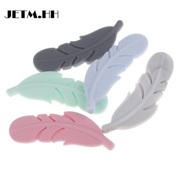20PCS Food Silicone Beads Feather Teether Silicone Pendant For Baby Silicone Necklace 18MM*56MM*6.5MM JETM.HH