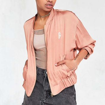 Silence + Noise Cleo Satin Bomber Jacket - Urban Outfitters