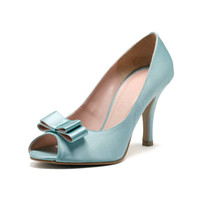 Princess Layla, Blue Peep Toe Court Shoes, Tiffany Blue Bridal Heels, Blue Satin Wedding Heels,  Three and a Half Inch Blue Dinner Heels