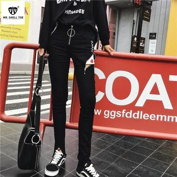 """Chrome Hearts"" Women Personality Gothic Letter Zip Bodycon Jeans Irregular Pencil Pants Trousers"