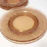 Amber Etched Glass Lunch Plates, Central Glass Works, Balda Amber Elegant Glass, Depressionware