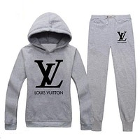 Louis Vuitton LV Popular Women Casual Print Hoodie Top Sweater Pants Trousers Set Two-Piece Sportswear Grey I/A