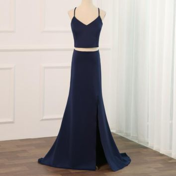 Sexy Halter Sleeveless Prom Dress Crop Top Party Evening Dresses Mermaid Floor Length with Side Slit Lace Covered Back