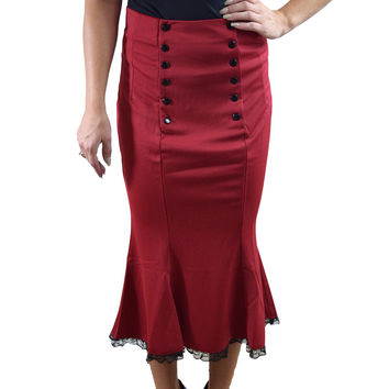 Vintage Style Retro Sailor Double Button Red Mermaid Pencil Midi Skirt